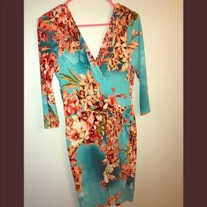 Long sleeved floral print dress